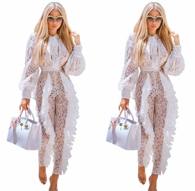 New Style See Through Floral Lace Long Sleeves Slim   Jumpsuit   Women's Birthday Bodysuit Nightclub Women Singer Dancer Bar Outfit