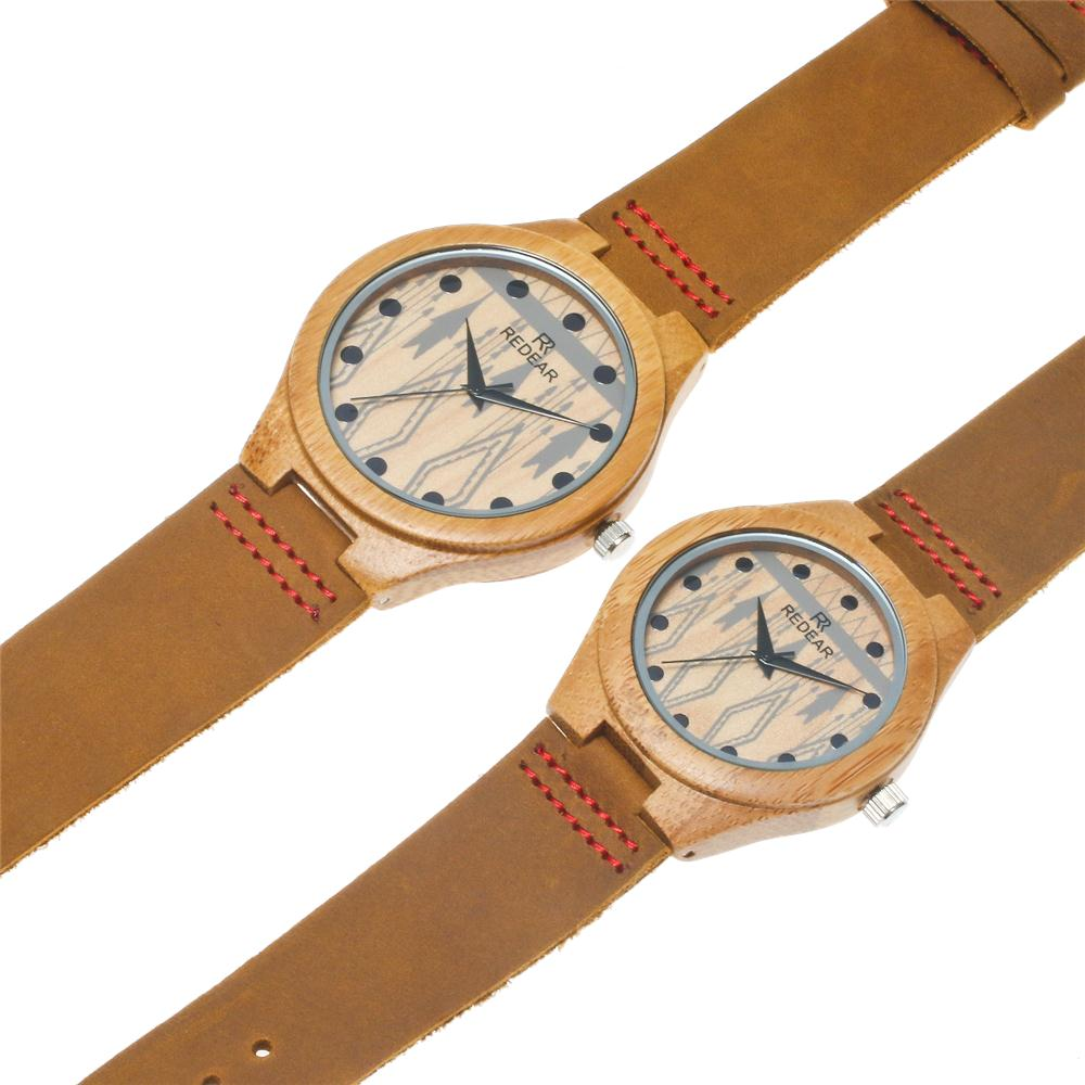 Wholesale stylish design couple wooden watch  leather strap Bamboo Wood quartz wrist watch lover's watch
