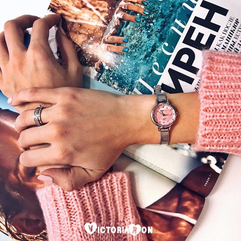 RENOS Klocka Kvinnor Med Box Enkel Svart Vit Rosa Armbandsur Mode Casual Rhinestone Armband Klockor Relogio Masculino Hot