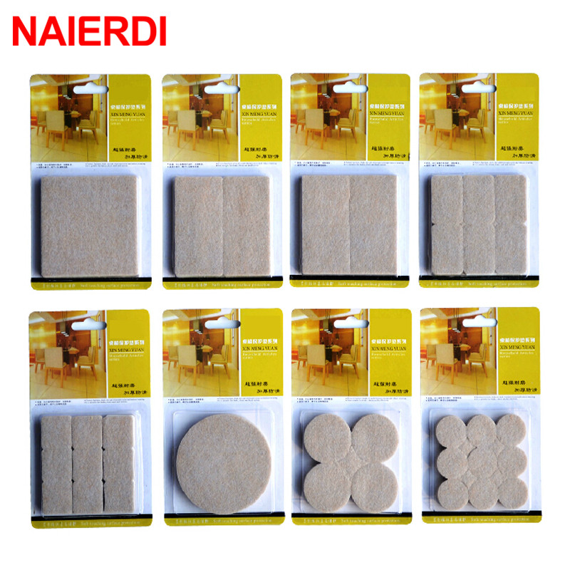 NAIERDI 2-32PCS Self Adhesive Mat Table Chair Round Furniture Leg Pad Protector Feet Floor Square Slip Mats Bumper Home Hardware