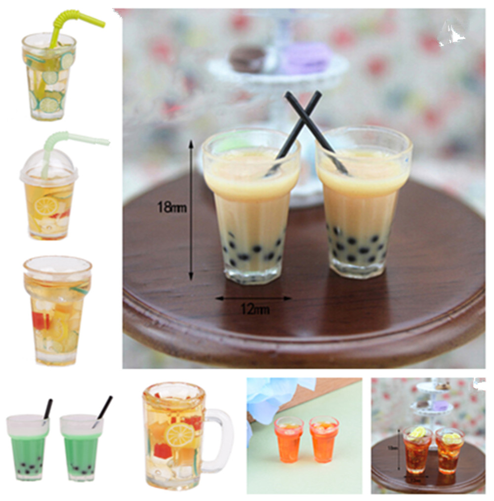 1/2x Miniature Milk Tea Drink Mini Lemon Tea For 1:12 Miniatural Dollhouse Kitchen Furniture Toys Accessories Toys For Children