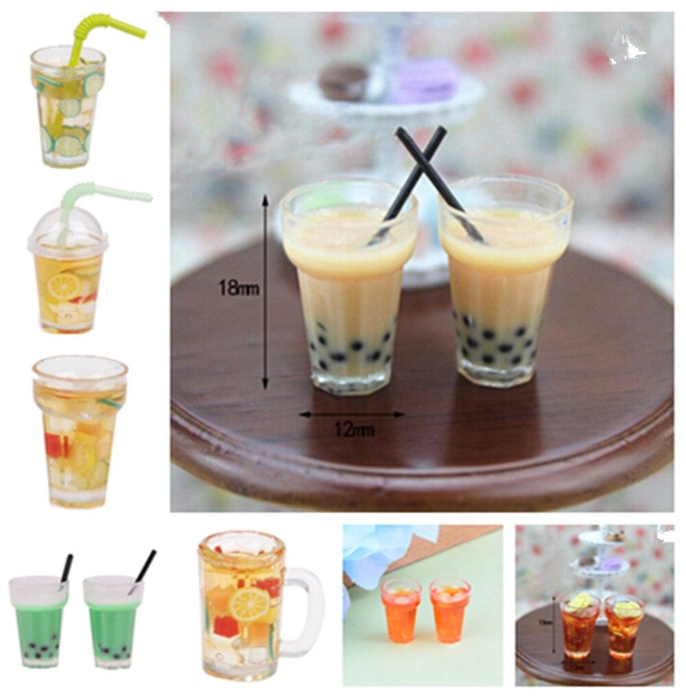 1/2x Miniature Milk Tea Drink Mini Lemon Tea For 1:12 Miniatural Dollhouse Kitchen Furniture Toys Accessories Toys For Children