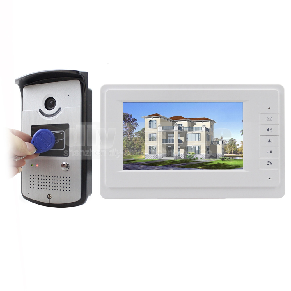 DIYSECUR 7 inch Wired Video Door Phone Doorbell Home Security Intercom System 1-In 1-Out RFID