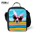 FORUDESIGNS Cute Kids Lunch Bags Portable Shoulder Thermal Insulated Bag Kawaii Animal Lunchbox Children Lancheira Picnic Bag