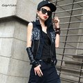 Mesh jean vest feminino vintage black punk cool spliced tasssel tassel coat women denim clothing short design  LT370