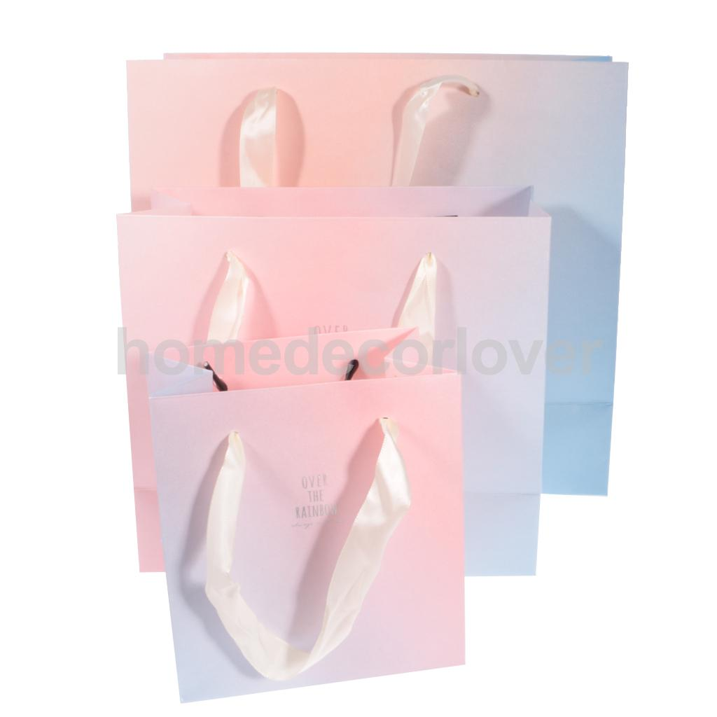 5pcs Satin Ribbon Handles Paper Bags Party Wedding Baby Shower Christmas Ombre Rainbow Gift Merchandise Boutique Bags