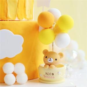 Image 4 - Ins 핑크 문 베어 스타 토끼 장식 생일 축하 케이크 토퍼 어린이 베이비 파티 베이킹 웨딩 용품 귀여운 선물