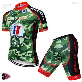 Pro Camouflage cyclisme équipe Jersey ensemble 2019 à manches courtes vtt cyclisme vêtements vélo vêtements de vélo cuissard à bretelles Gel Pad 9D été