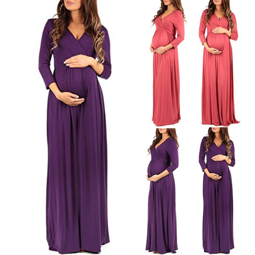 Punctual Maternity Dresses Women Wraped Ruched Maternity Pregnant Solid 3/4 Sleeve V Neck Long Loose Dress Fine Workmanship Mother & Kids Maternity Clothing