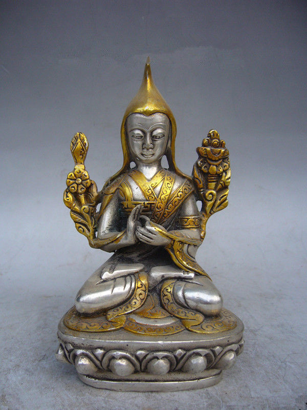 13 cm China Tibet collection decoration silver plated gold Buddha statue