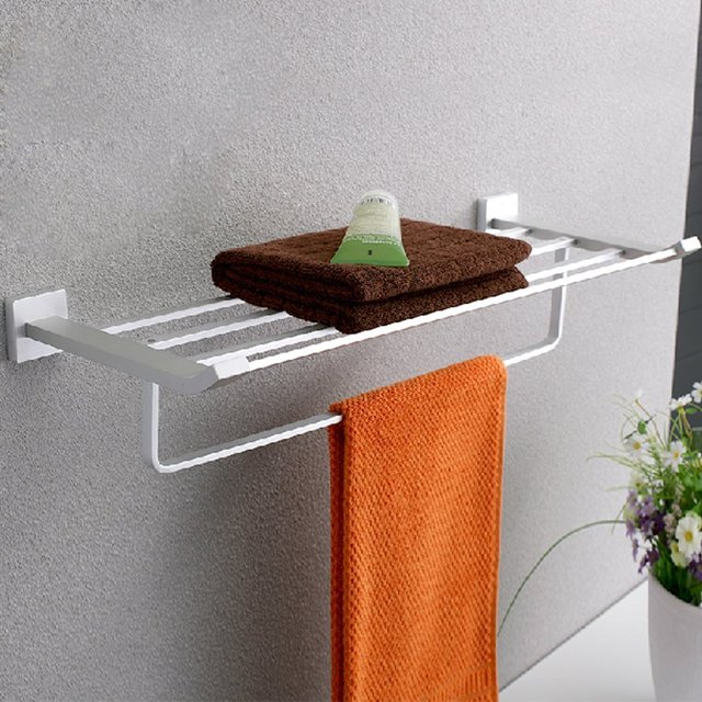 kes a4210 bathroom lavatory double bathroom shelf towel rack wall mount solid aluminum