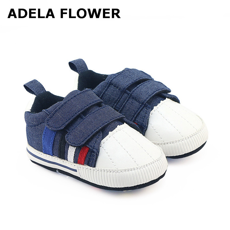 Adela Flower Spring/Autumn Shoes For Baby Boy Navy Denim Double Strap Soft Sole Anti-slip Kids Shoes Newborn Boys Sneakers 0-18M