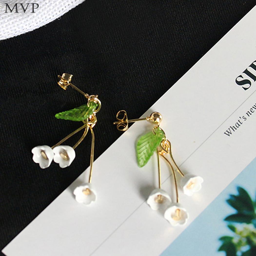 Fringed Elegant Crystal Bell Orchid Shape Women Flower Pierced Dangle Earrings