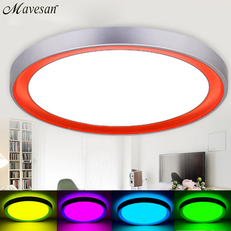 Modern LED Ceiling Lamp 18w-24w RF Controlled Dimmable Color Ceiling Lights Luminarias Light  For Bedroom Dinning Living Room noosion modern led ceiling lamp for bedroom room black and white color with crystal plafon techo iluminacion lustre de plafond