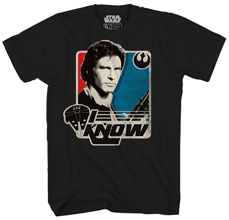 Star Wars Han Solo I Know Princess Leia Millennium Falcon Retro Vintage Classic Funny T Shirt Pun Mens Adult Graphic Tee T-Shirt