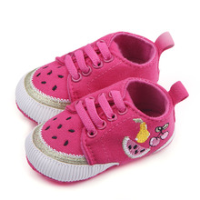 Cute Baby Girl Canvas Shoes Knited Fruit Watermelon Patterns Lace Up First Step Soft Sole Baby