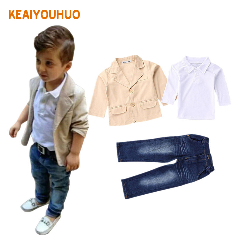 2-8 yrs Children clothing 2017 New 3pcs kids boys clothing sets coat jacket T-shirt pants 3 pcs fashion sports suit sets