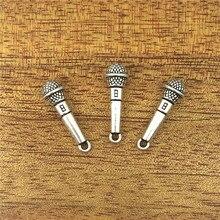 Colgante antiguo de 25x7mm con diseño de micrófono de 10 Uds para traje, Plata tibetana y bronce Vintage, collar de pulsera DIY