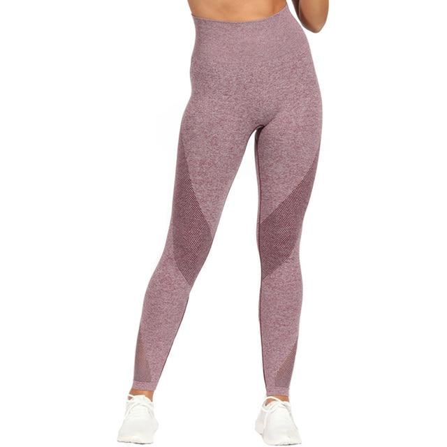High Stretchy Sports Flex Seamless Leggings for Women Energy Yoga Pants Mesh Fitness Tights Gym Legging Scrunch Butt Legging