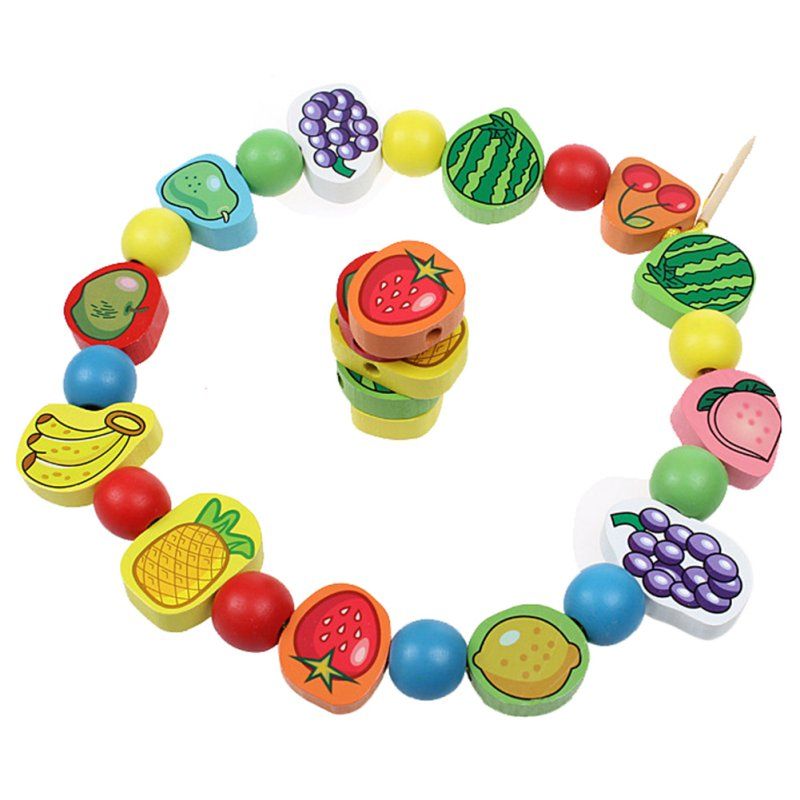 Children Learning & Education Wooden Animal Fruit Block Stringing Beaded Toys For Colorful Products Kids Toy 26pcs/lot Hot Sale