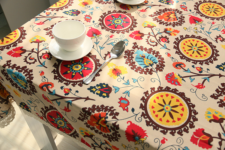 National wind explosion models cotton linen tablecloths Sun flower table cloth tablecloth Table Covers for Wedding Party Home 13