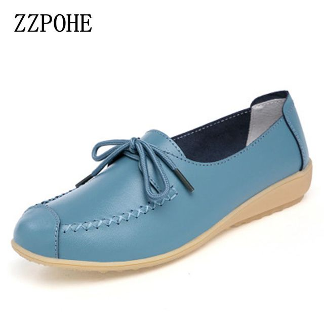 ZZPOHE spring autumn new lace Mother Flat shoes fashion shallow mouth Ladies Peas shoes tendon casual Women Leather shoes 35-40