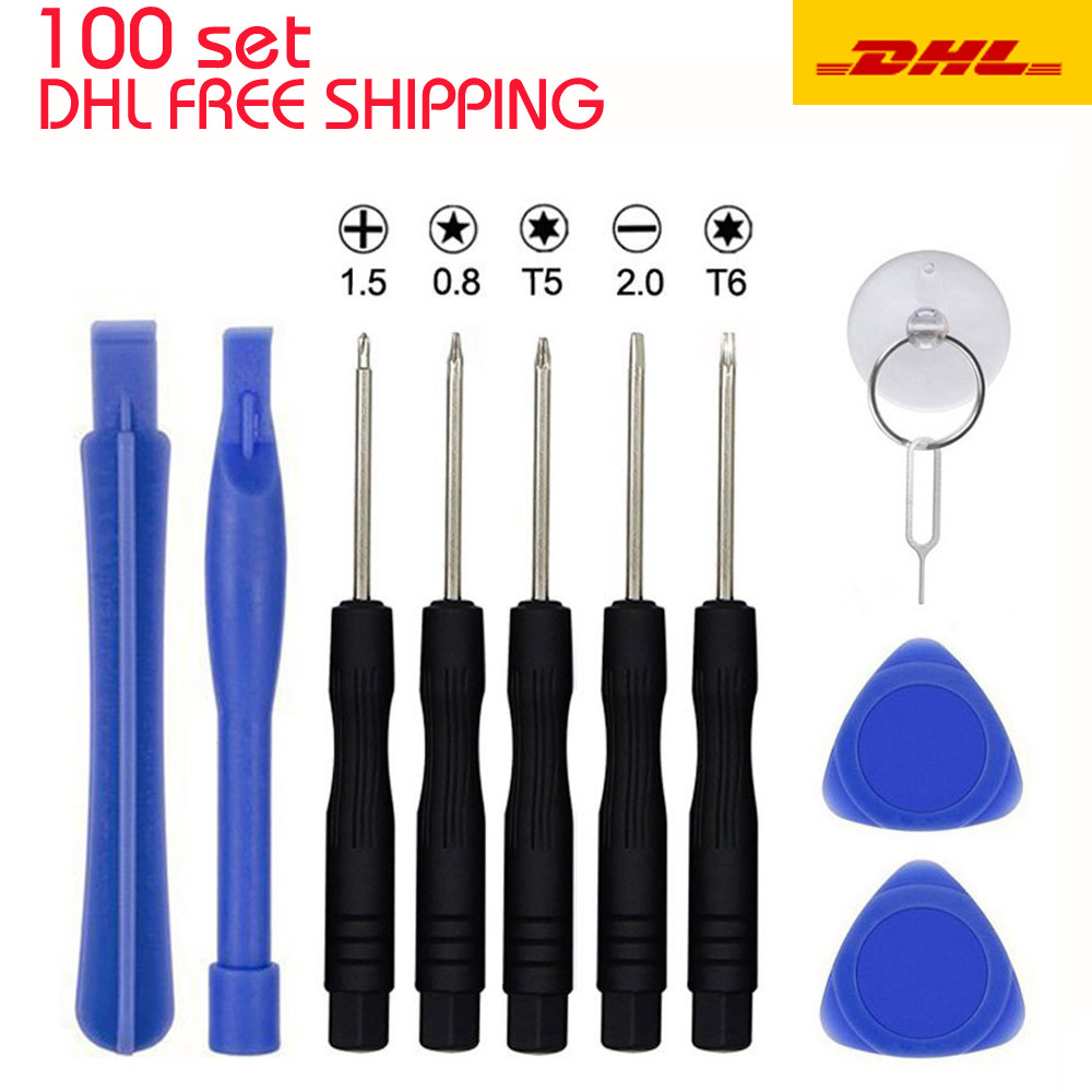 купить 100Sets 11 in 1 Mobile Repair Fix Opening Tool Kit Set Pry Screwdriver Mobile Phone Repair Tool Set For iPhone 4 5 6 6s Samsung недорого