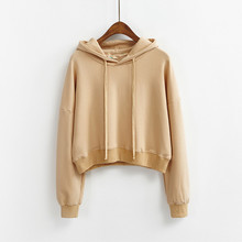 2017 Spring Autumn Women Casual Hoody Pullovers New Long Sleeve Loose Solid Hooded Sweatshirt Women Clothes Cropped Tops C77355A