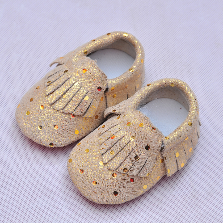 Genuine Leather First Walkers Flash Dots Baby shoes Fringe Baby Moccasins Soft bottom newborn Bebe shoes
