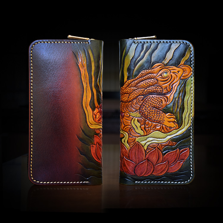 OLG.YAT Italian Vegetable tanned cowhide handmade long section of zipper handbag cowhide Golden toad wallet retro men wallet семена center of shouguang vegetable breeding 244 2000 100