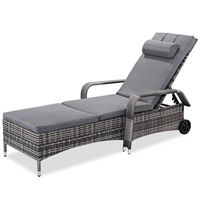 Costway Outdoor Chaise Lounge Chair Recliner Cushioned Patio Furni Adjustable W/Wheels