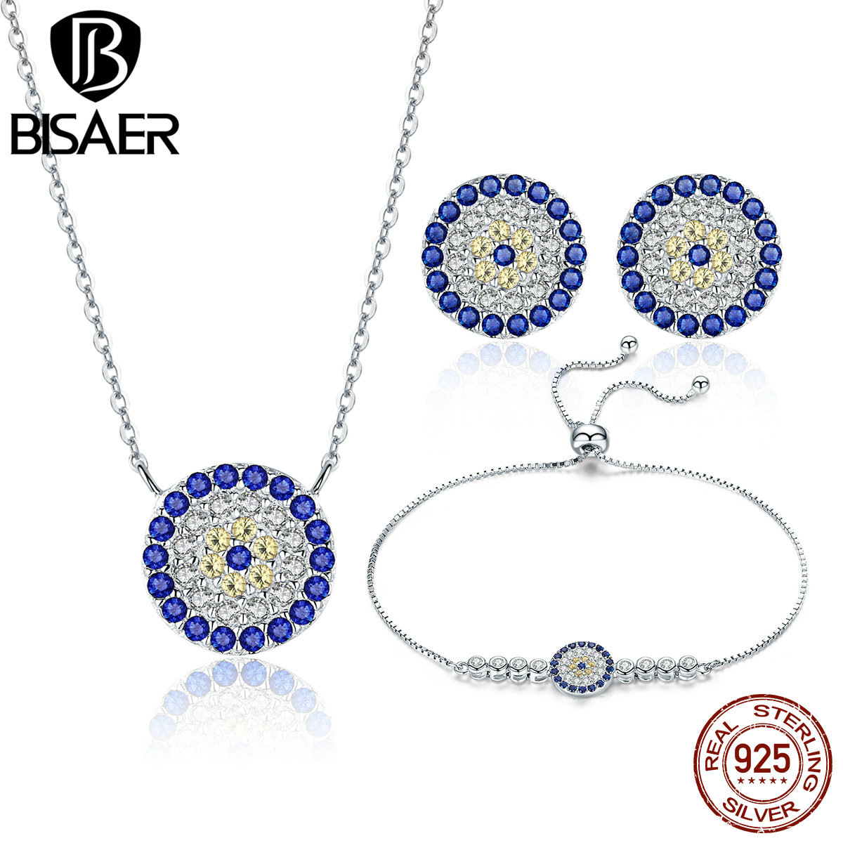 BISAER Vintage 925 Sterling Silver Round Circle Blue Clearly CZ Necklace Earrings Bracelet Jewelry Set Anniversary недорго, оригинальная цена