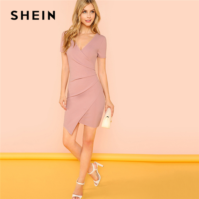 7b20100b3e SHEIN Pink Solid Surplice Wrap Fitted Dress Elegant V Neck Short Sleeve  Sheath Short Dresses Women Asymmetrical Summer Dress
