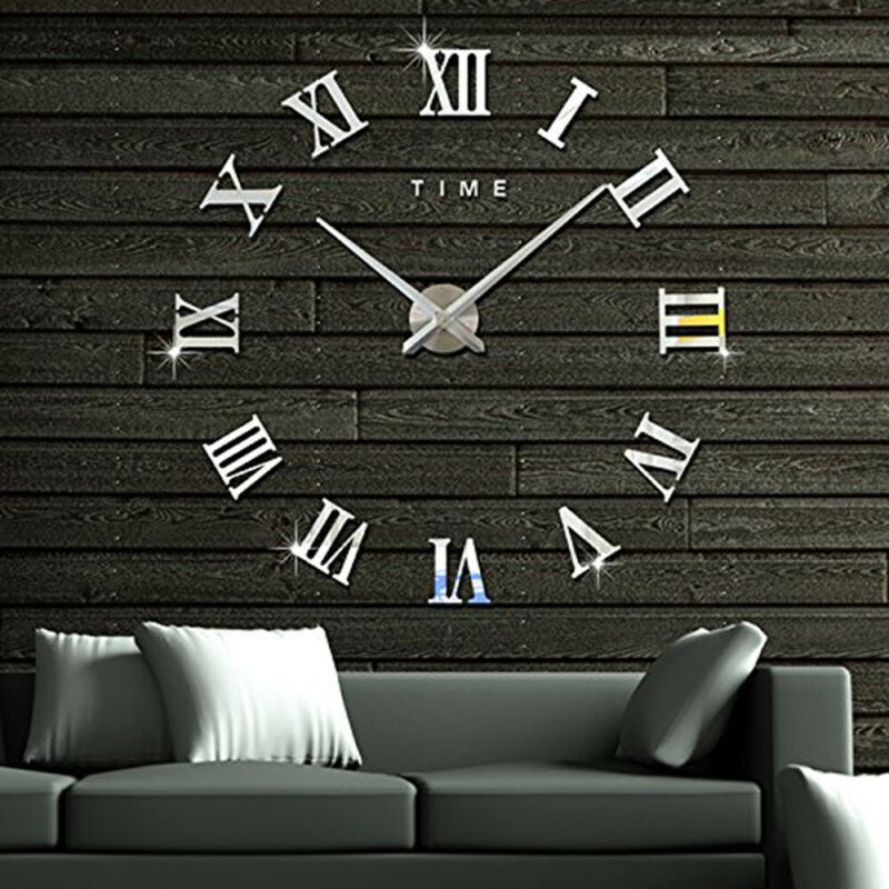DIY 3D Large Wall Clock Roman Numeral Metallic Mirror Stick On Clock Home Decor Stylish Simplicity Wall Clock Home Decor 2019New