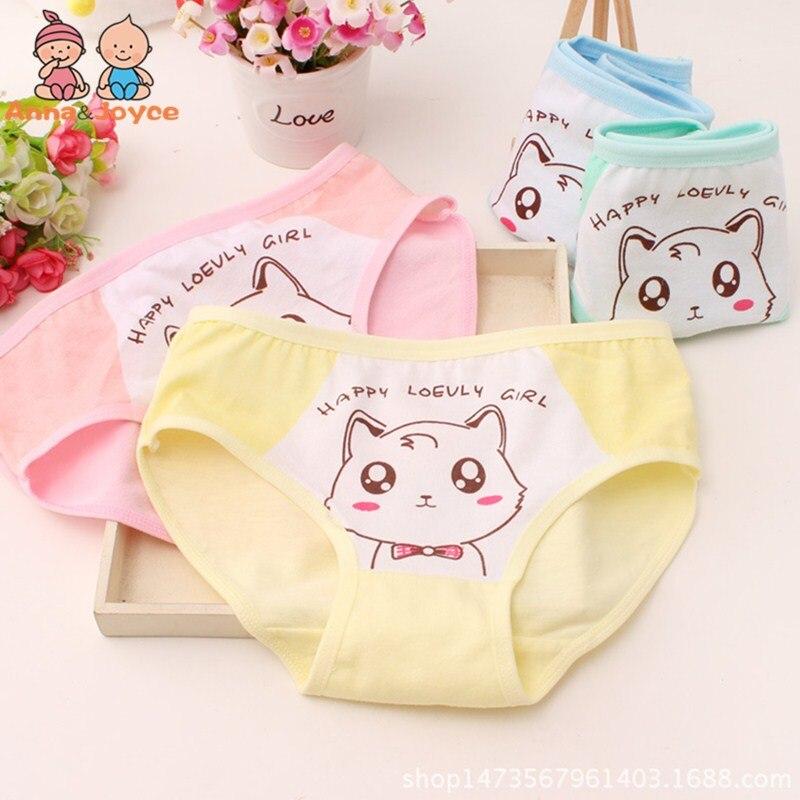 100% Wahr Mädchen Dreieck Hosen Weiche Bequeme Unterwäsche Briefs Baby Reine Baumwolle Unterhose Katze Cartoon Druck Unterwäsche Htnn435