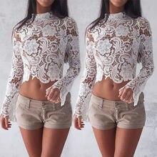 Сексуальная кружевная вязанная блуза с расклешенными рукавами, Женская белая кружевная открытая Укороченная рубашка с длинным рукавом, повседневная клубный кроп-топ, блузы