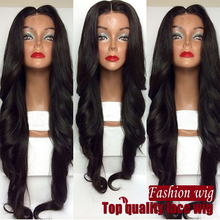 Fashion Wavy Synthetic Lace Front Wigs Glueless Long Natural Black Wavy Wigs For African American Women