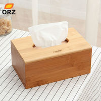 ORZ Rustic Tissue Box Cover Paper Napkin Bamboo Wood Removable Paper Holder Home Car Office Living Room Restaurant Tissue Box