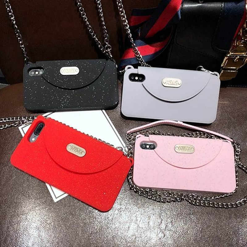 ... Luxury Fashion Women s wallet Soft Silicone Phone Case Cover For iPhone  XS MAX XR X 6 6S Plus 7 8 plus With long Chain on Aliexpress.com  265287c016fc