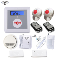 GSM Alarm & SOS Call Wireless Intrusion Alarm System Senior Telecare System with PIR Sensor Gas Detector Door Contact K3I Kit