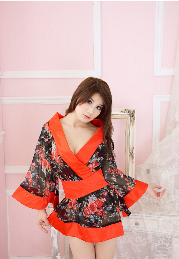 sexy lingerie New Japanese printing uniform temptation appeal role playing kimonos chiffon floral kimono