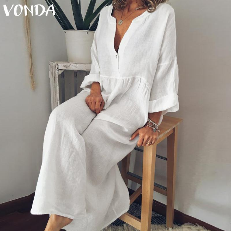 VONDA High Quality Chic Dresses Maternity Clothes For Pregnant Women Long Sleeve Solid Dresses Pregnancy Maternity Vestido
