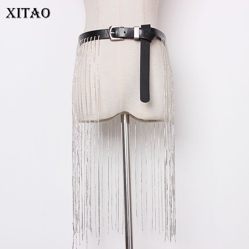 [XITAO] Korea Fashion 2019 Women New Arrival Tassel Patchwork Diamonds Asymmetrical Sequined Solid Color Cummerbund DLL3329