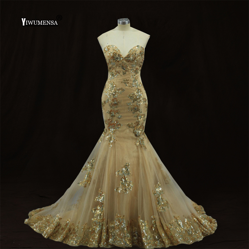yiwumensa Brand Long   Prom     Dresses   Gold Sequined appliques Lace-up   Prom     dress   2019 Custom Made Mermaid Gowns Robe De Bal Longue