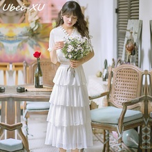 Ubei New 2019 summer dress fairy sweet layered cake white/pink short sleeve beach long fashion