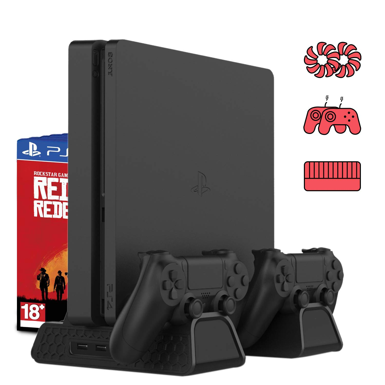PS4 Cooling Fan Heat Sink Base Vertical Charger Stand Dual Controller Charging Dock For Playstation 4 PS 4 Pro/Slim Accessories