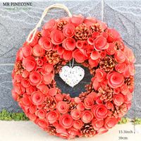 D15.3 Natural Wood Flowers Wedding Decoration Hanging Wreath Anniversary Wedding Valentine's Day Gift Wreath with Rattan Heart