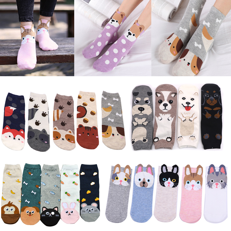 Kawaii   Socks   Women Warm Cotton   Socks   Lovely Animal Pattern Autumn Winter Cartoon Christmas   Socks   Female Short   Socks   Calcetines
