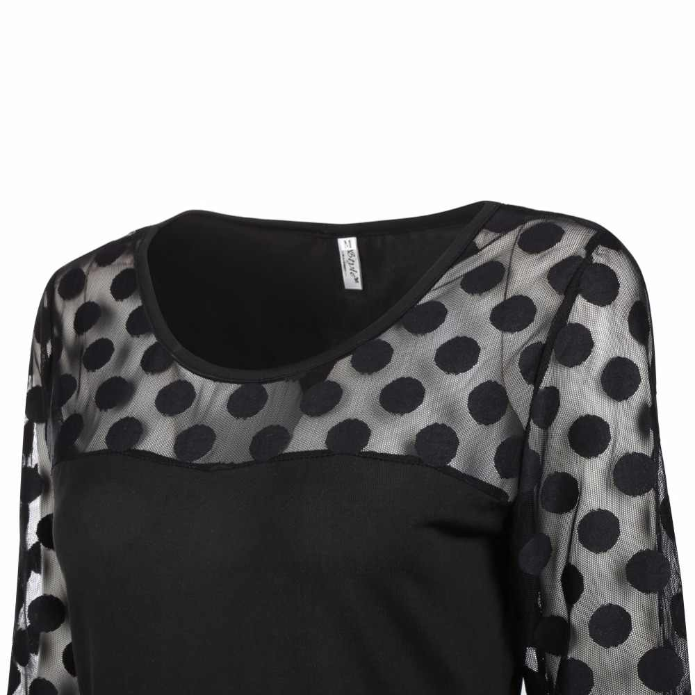 1041d7feff2d ... Sexy Black Dot Lace t shirts Women Evening Party Tees Tops Female  Transparent Long Sleeve Slim ...