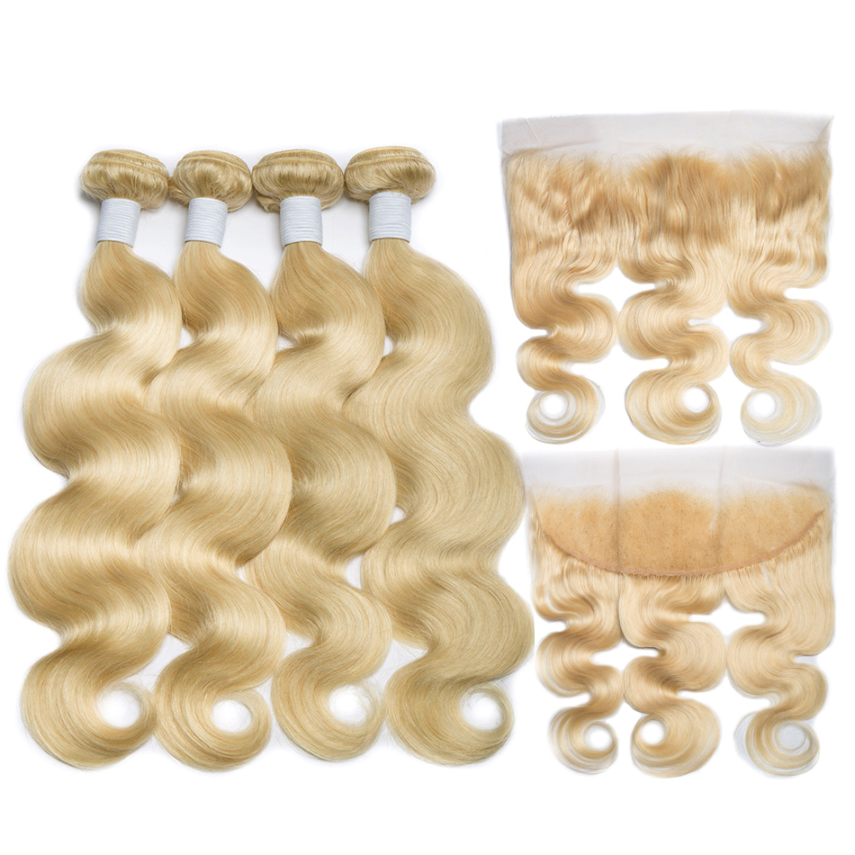 ALIBELE 613 Bundles With Frontal Brazilian Body Wave Remy Human Hair 3 Bundles With Closure Honey
